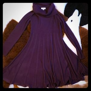 Purple Calvin Klein turtle neck dress